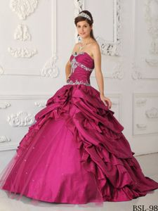 Popular Fuchsia Sweetheart Beading Pick-ups Dresses for a Quince