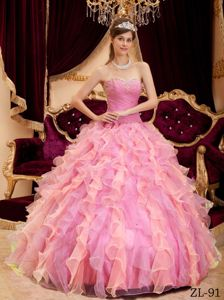 Cute Rose Pink Ruffled Beading Sweet 16 Dresses with Ruches
