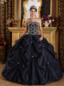Unique Black Beading Ball Gown Taffeta Dresses for a Quince