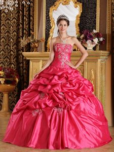 Hot Pink Ball Gown Pick-ups Appliqued Quinceanera Party Dress