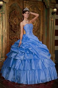 Baby Blue Multi-tiered Pick-ups Quinceanera Party Dress