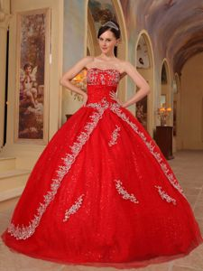 Embroidery Red Organza Dresses for a Quince with Appliques