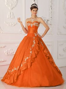 Orange Red Sweetheart Princess Dress for Quinceaneras with Embroidery