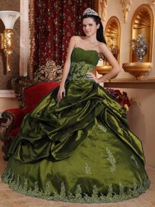 Olive Green Taffeta Appliques Quinceanera Dresses with Pick-ups