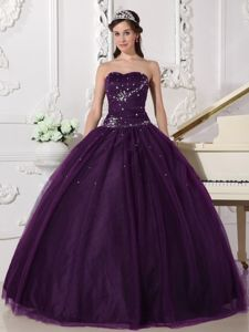 Discount Dark Purple Tulle Quinceanera Gown Dresses with Rhinestone