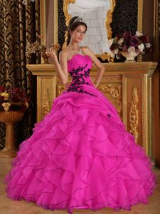 Hot Pink Organza Quinceanera Dress with Ruffles and Appliques