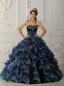 Blue and Black Floor-length Ruffled Organza Quinceanera Gown Dress