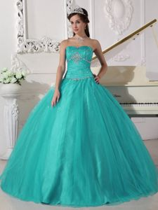 Turquoise Floor-length Beaded Quinceanera Dresses with Ruches