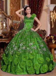 CapeTown Film Fest 2013 Green V-neck Beaded Quinceanera Gown Dresses with Appliques