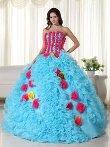Upscale Aqua Blue Dresses for a Quinceanera with Red Flowers Julia Roberts