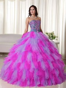 2014 Lena Headey Mature Multi-color Ball Gown Appliqued Dress for Sweet 15