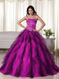 American Idol Custom Made Appliqued Floor-length Fuchsia Dress for Quince