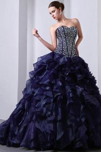 Corset Back Beaded Ruffled Navy Blue Quinceanera Dresses