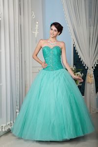 Custom Made A-line Beaded Mint Colored Dress for Quince