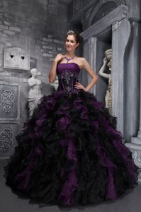 Mature Ruffled Appliqued Sweet Sixteen Dresses in Dark Purple