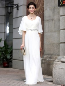 White Column/Sheath Beading Mother of Groom Dress Zipper Chiffon Half Sleeves Floor Length