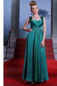 Peacock Green Sleeveless Ankle Length Beading and Lace Zipper Mother of Bride Dresses