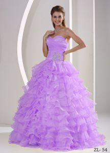 Dreamy Lilac Ruffled Appliqued Sweet Sixteen Dresses Online