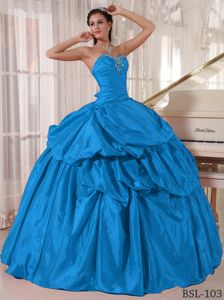 Pretty Taffeta Sweetheart Pick Ups Teal Quinceanera Gown Dress