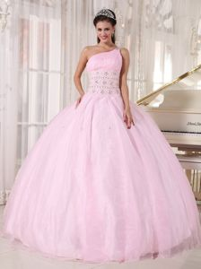 Baby Pink One Shoulder Quinceanera Dresses with Rhinestones