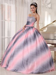 Impressive Ombre Color Beaded Fitted Quinceanera Gown Dress
