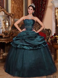 Mature Dark Green Quinceanera Gown with Pick Ups and Beading