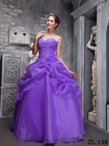 Cheap Pick Ups Flowers Ruched Purple Quinceanera Gown Dress