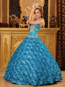 Wholesale Embossed Fabric Appliqued Teal Dresses for a Quince