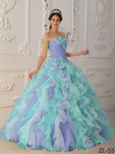 Ball Gown Strapless Ruffled Multi-color Quinceanera Dresses