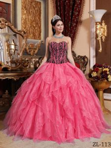 Watermelon Red and Black Corset Ruffled Quinceanera Dresses