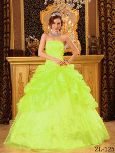 Unique Appliqued Yellow Green Quinceanera Party Dress Online