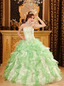 Inexpensive Beaded Ruffled Apple Green Top Quinceanera Dress