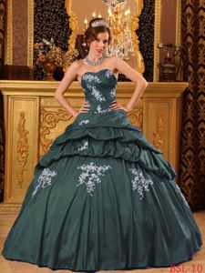Dark Green Dress for Sweet 15 with White Appliques On Sale