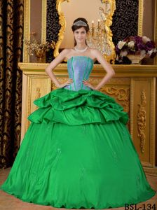 Latest Simple Green Corset Sweet Sixteen Dresses with Pick Ups