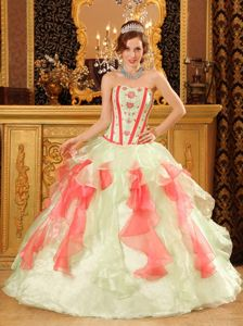 Corset Back Ruffled Multi-color Quince Dresses On Promotion