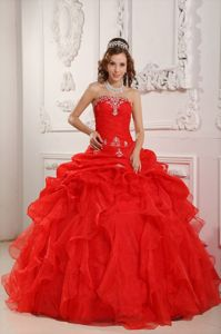 The Brand New Red Sweet 15 Dress with Beading and Ruffles