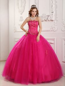 Dreamy Tulle Ball Gown Beaded Hot Pink Dress for a Quince