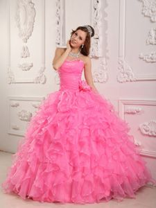 Pretty Rose Pink Ruffled Beaded Sweet 15 Dress with Flower