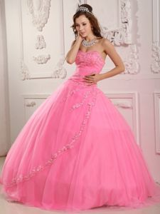 Unique Sweetheart Rose Pink Quinceanera Dress with Appliques