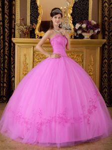 Ball Gown Tulle Appliques Sweetheart Quinceanera Party Dress