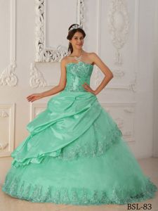 Apple Green Strapless Quinceanera Gowns with Appliques Wholesale