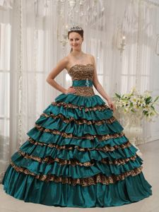 Dressy Leopard Printing Dress for a Quinceanera with Ruffled Layers