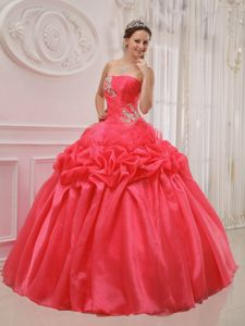 Newest Red Ball Gown Strapless Quinceanera Dress with Appliques