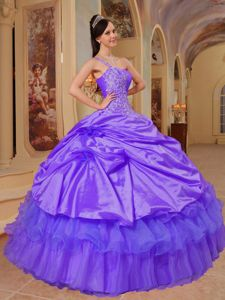 One Shoulder Slate Blue Quinceanera Dress in Taffeta and Organza