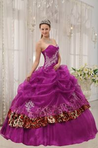 Leopard Printed Quinceanera Gowns with Pick-ups and Appliques