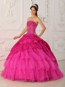 Coral Red Ruffles Quince Dress with Beading in Taffeta and Organza