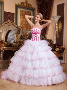 Multi-layered Ruffles Appliques Quinceanera Dresses in White