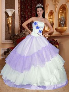 Multi-colored Ruffles Dress for Sweet 16 with Embroidery Hot Sale