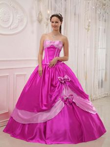Graceful Strapless Satin Beaded Quinceanera Gowns with Bowknots