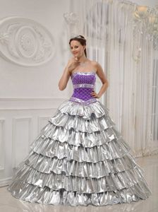 Recommended Strapless Silver Sweet 15 Dresses with Ruffled Layers